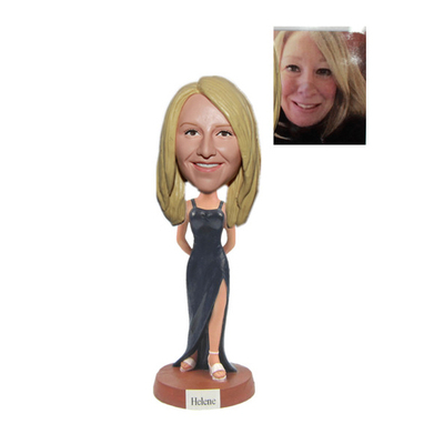Custom Bridesmaid Bobbleheads In Black Dress