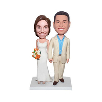 Personalized Wedding Bobbleheads In White Wedding Dress