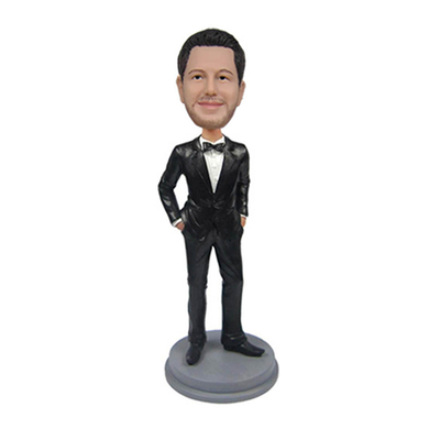 Groomsmen In Black Suit And With Bowtie Wedding Bobbleheadscustomize