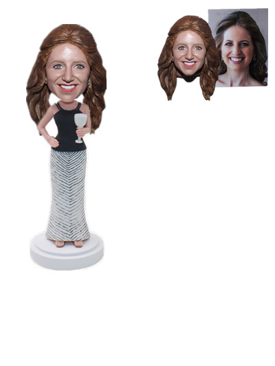 Custom Female Bobblehehad Lady Wine Glass Ceremony Gift