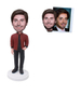 Custom Fashion Man Bobble Head in Maroon Color Coat with Hand in Jeans Pocket