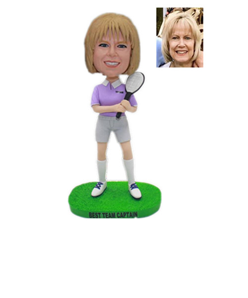 Custom Tennis Bobble Head Female Holding A Tennis Racket