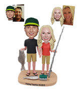 Custom Couple Bobblehead Fishing Lovers Custom Wedding Gift