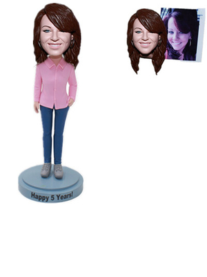 Custom Bobblehead Lady in Pink Shirt