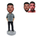 Custom Casual Man Bobblehead Man in Plaid Shirt with Hands in Pockets