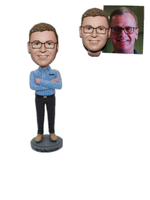 Personalized Custom Bobblehead Man with Arms Folded