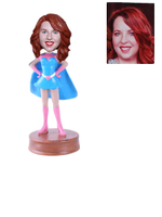 Personalized Superwoman in Blue Suit Blue Cape Custom Bobblehead