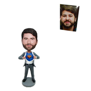 Personalized Bobblehead Superman In Grey Suit
