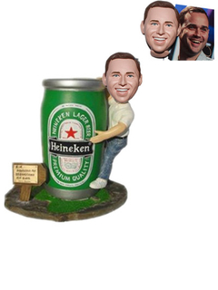 Customized Beer Bobbleheads Man Holding A Big Beer Can Beer Promotional Gift