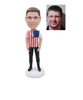 Custom Man Bobblehead in T-shirt with American Flag