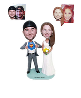 Custom Wedding Cake Toppers Bridegroom in Superman Suit Custom Bobbleheads