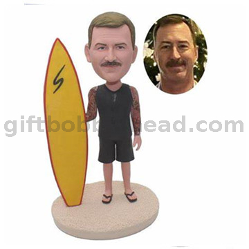 Personalized Surfing Custom Bobblehead Man Holding A Surfboard
