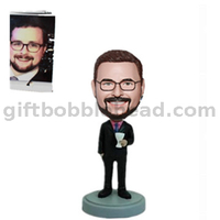 Custom Boss Bobblehead Man Holding A Cocktail Glass