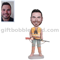 Personalized Custom Bobblehead From Photo Hunter Man with A Telescope And A Gun
