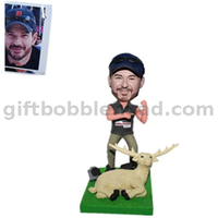 Hunter Bobblehead Man Showing His Muscle with A Deer