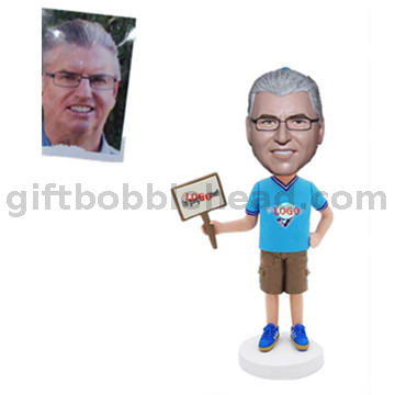 Custom Promotional Bobblehead Man Holding A Sign