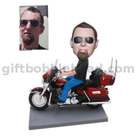 Custom Motorcycle Bobblehead Man Riding on His Harley Davidson
