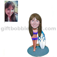 Custom Surfing Bobbleheads Lady Holding A Surfboard