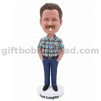 Custom Causal Bobblehead Man in Plaid Shirt