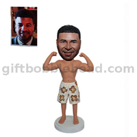 Custom Muscle Man Bobblehead Man in Hawaiian Shorts Showing His Muscles