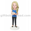 Custom Female Bobble Head Woman with Cards in Hands