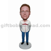 Casual Man Custom Bobblehead in Baseball Jersey