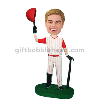 Bobblehead Baseball Player Holding The Bat And Hat