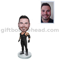 Custom Weightlifting Bobble Head Player in Black Unform