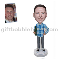 Customized Male Bobblehead Man in Blue Plaid Shirt with Beer Bottle in Hand