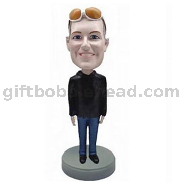 Custom Male Bobblehead Man with Sunglasses on The Forehead