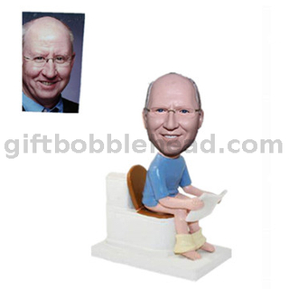 Personalized Custom Male Bobblehead Man Sitting on Toilet with Paper