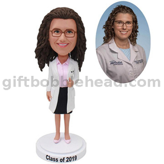 Female Doctor with Hand Holding on Lab Coat Custom Bubble Head Female Doctor Gifts