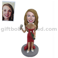 Custom Female Bobblehead Lady in Red Dress with Beer