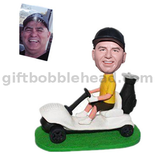 Custom Male Bobblehead Man On A Golf Cart
