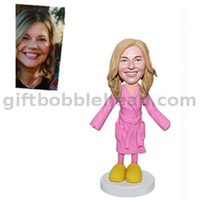 Custom Bobblehead Lady in Pink Pajamas Handmade Valentine's Day Gift