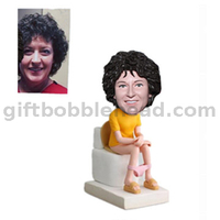 Custom Humorous Bobbleheads Lady Sitting on The Toilet