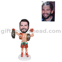 Custom Wrestling Bobble Head Player Holding Belts