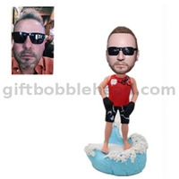 Custom Surfing Bobblehead Man Sailing on The Sea