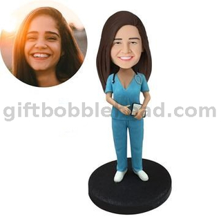 Custom Bobblehead Female Nurse Holding Record Board